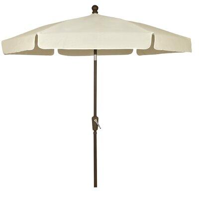 7.5 Leonard Garden Canopy Octagonal Drape Umbrella Frame Finish: Champagne Bronze, Fabric: Natural