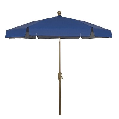 7.5 Leonard Garden Canopy Octagonal Drape Umbrella Frame Finish: Champagne Bronze, Fabric: Navy Blue