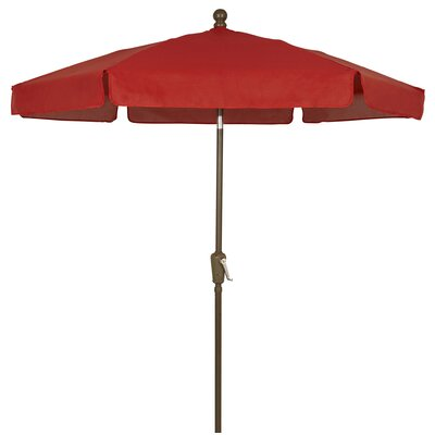 7.5 Leonard Garden Canopy Octagonal Drape Umbrella Fabric: Red, Frame Finish: Champagne Bronze