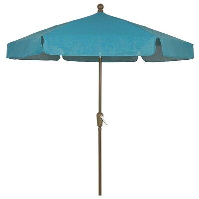 7.5 Leonard Garden Canopy Octagonal Drape Umbrella Fabric: Teal, Frame Finish: Champagne Bronze