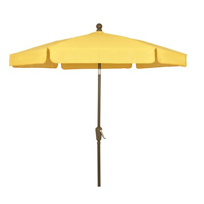 7.5 Leonard Garden Canopy Octagonal Drape Umbrella Frame Finish: Champagne Bronze, Fabric: Yellow