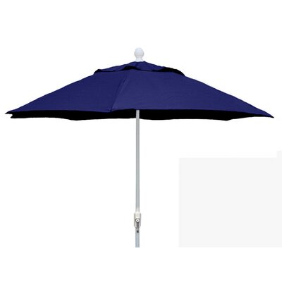 7.5 Leonard Canopy Octagonal Market Umbrella Frame Finish: White, Fabric: Navy Blue