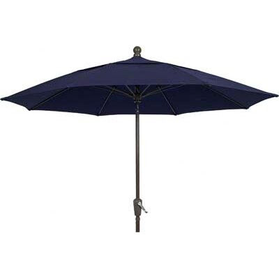 9 Leonard Canopy Octagonal Market Umbrella Fabric: Navy Blue, Frame Finish: Champagne Bronze