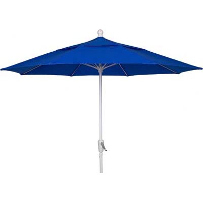 9 Leonard Canopy Octagonal Market Umbrella Fabric: Pacific Blue, Frame Finish: White