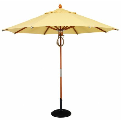 11 Prestige Wood Canopy Octagonal Market Umbrella Fabric: Sunflower Yellow