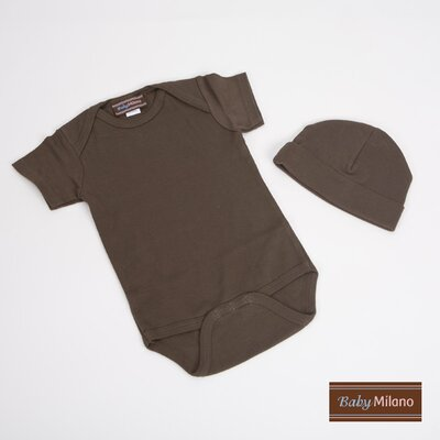 2 Piece Baby Gift Set with Hat in Brown Size: 0-3 Months