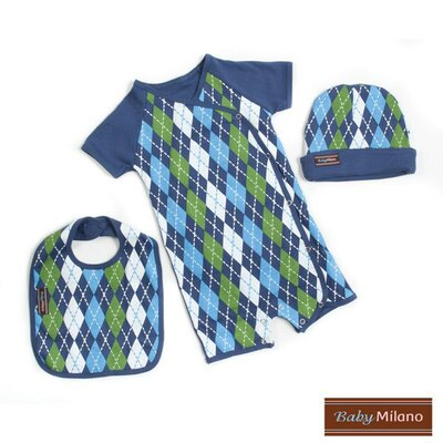 3 Piece Baby Clothes Gift Set in Blue Argyle Size: 0-3 Months