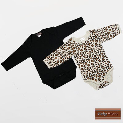 Infant Bodysuits Long Sleeve Gift Set in Black and Leopard Print Size: 3-6 Months