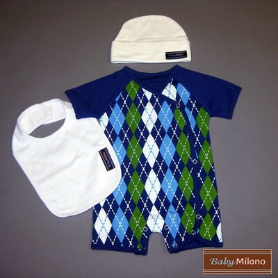 3 Piece Baby Clothes Gift Set in Blue Argyle and White Size: 3-6 Months