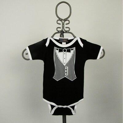 Baby Milano Black Tuxedo Vest Infant Bodysuit - Short Sleeve with White Trim - Size: 3-6 months at Sears.com
