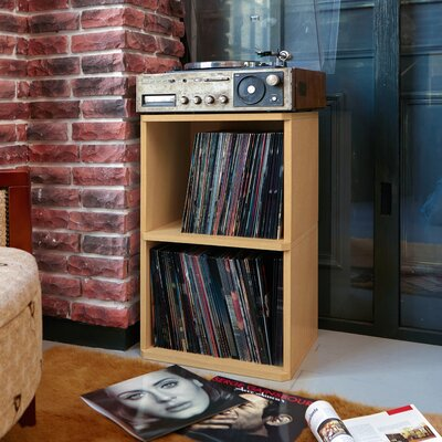 Bellwood Vinyl Multimedia Record Storage Cube Unit Color: Natural
