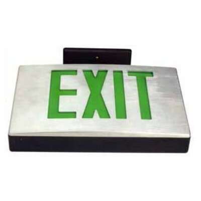 Cast Aluminum Extra Face Plate LED Exit Sign with Green Lettering and White Face