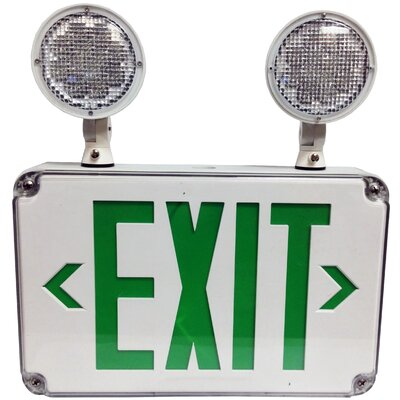 LED Wet Location Combo Legend Exit Sign and Emergency Light Color: Green
