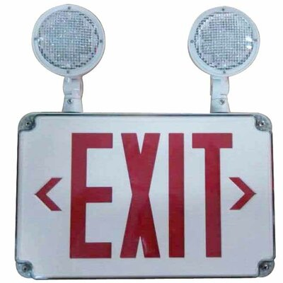 LED Wet Location Combo Legend Exit Sign and Emergency Light Color: Red