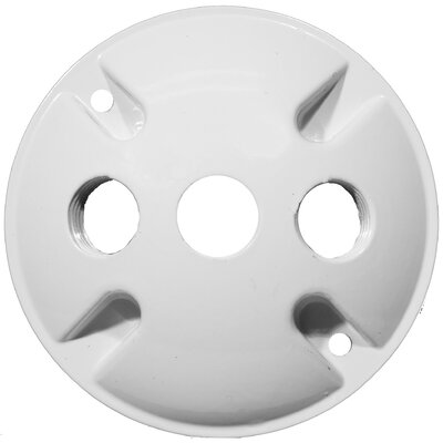 4 Round Weatherproof Covers in White with 0.5 Three Hole
