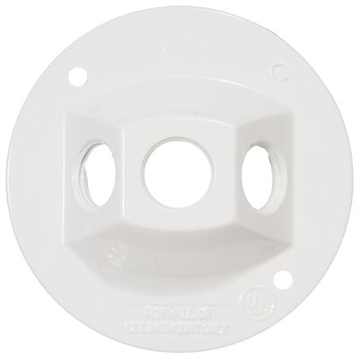 4 Round Weatherproof Covers in White with Three Hole