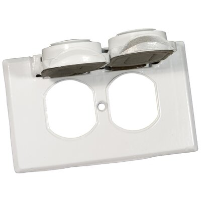 One Gang Weatherproof Covers in White for Horizontal Duplex Receptacle