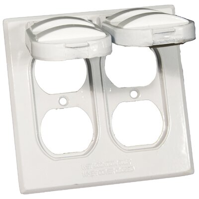 Two Gang Weatherproof Covers in White for 2 Duplex Receptacles