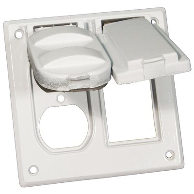 Two Gang Weatherproof Covers in White for 1 GFCI and 1 Duplex Receptacle
