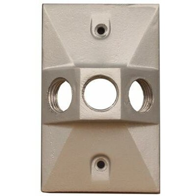 Three Hole Rectangular Lamp Holder One Gang Weatherproof Covers Color: Gray