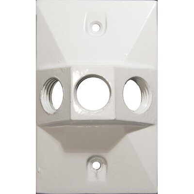 Three Hole Rectangular Lamp Holder One Gang Weatherproof Covers Color: White