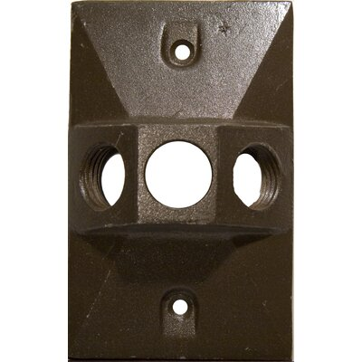 Three Hole Rectangular Lamp Holder One Gang Weatherproof Covers Color: Bronze