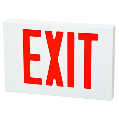 Remote Capable LED Exit Sign in Red LED and White Housing with Battery Backup