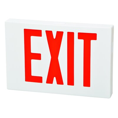 LED Exit Sign in Red LED and White Housing with Battery Backup
