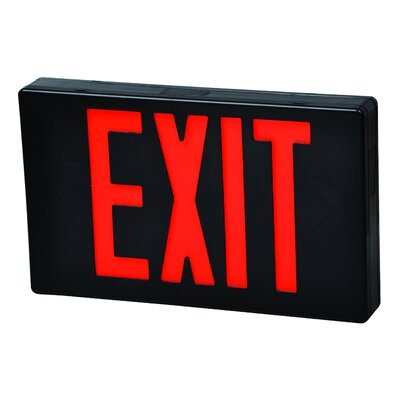 Remote Capable LED Exit Sign in Red LED and Black Housing with Battery Backup