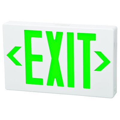 Remote Capable LED Exit Sign in Green LED and White Housing with Battery Backup