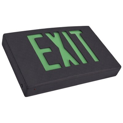 Remote Capable LED Exit Sign in Green LED and Black Housing with Battery Backup