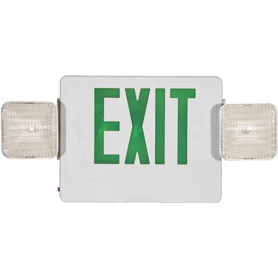 Combo Remote Capable LED and Exit / Emergency Light in Green LED and White Housing