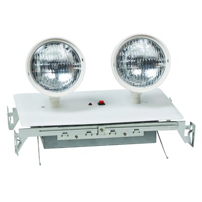 Recessed Twin Head Emergency Lighting Unit in White