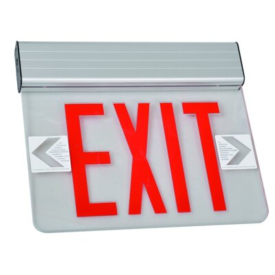 Surface Mount Edge Lit LED Exit Sign with Red on Clear Panel and Aluminum Housing