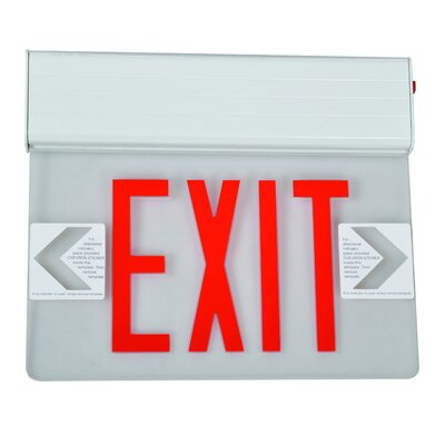 Surface Mount Edge Lit LED Exit Sign with Red on Clear Panel and White Housing