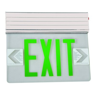 Surface Mount Edge Lit LED Exit Sign with Green on Clear Panel and White Housing