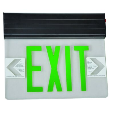 Surface Mount Edge Lit LED Exit Sign with Green on Clear Panel and Black Housing