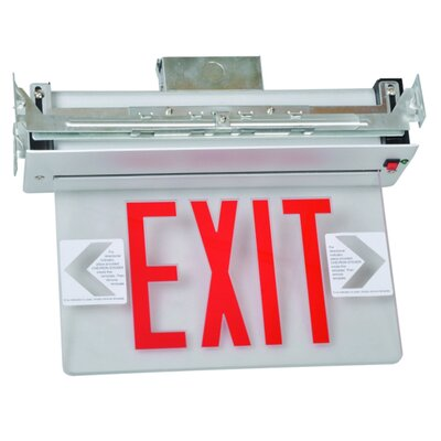 Recessed Mount Edge Lit LED Exit Sign with Red on Clear Panel and White Housing