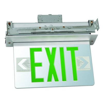 Recessed Mount Edge Lit LED Exit Sign with Green on Clear Panel and White Housing