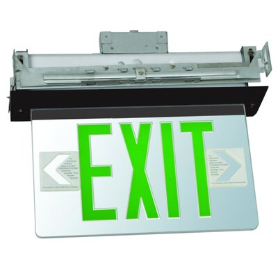 Recessed Mount Edge Lit LED Exit Sign with Green on Clear Panel and Black Housing