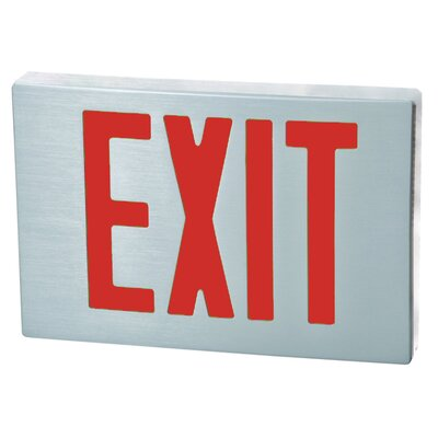 Cast Aluminum LED Exit Sign with Red Lettering, Aluminum Housing and Aluminum Face