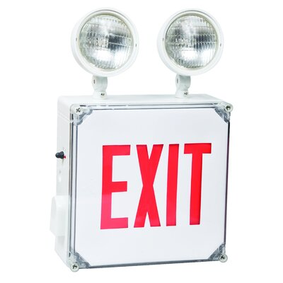 Wet Location LED Exit Combo Unit with Red Letter