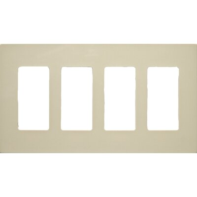 4 Gang Decorator Screwless Snap in Wall Plates in Ivory