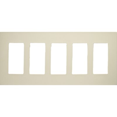 5 Gang Decorator Screwless Snap in Wall Plates in Ivory
