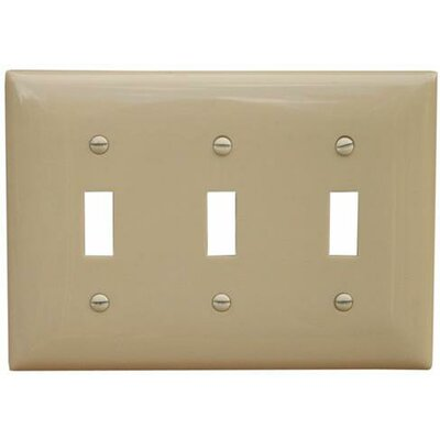 3 Gang Lexan Wall Plates for Toggle Switch in Ivory (Set of 5)
