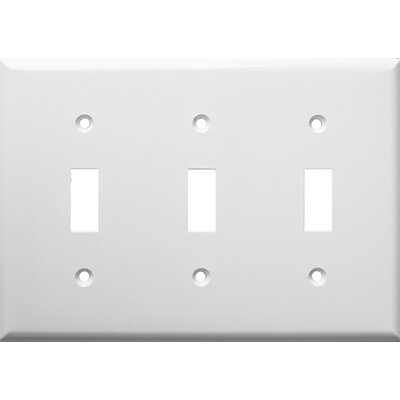 3 Gang Lexan Wall Plates for Toggle Switch in White