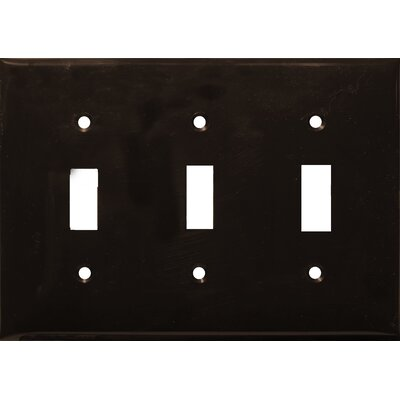 3 Gang Lexan Wall Plates for Toggle Switch in Brown