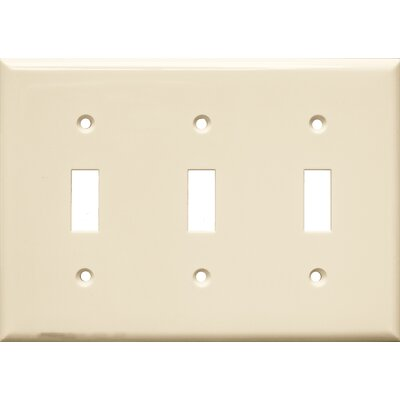 3 Gang Lexan Wall Plates for Toggle Switch in Almond