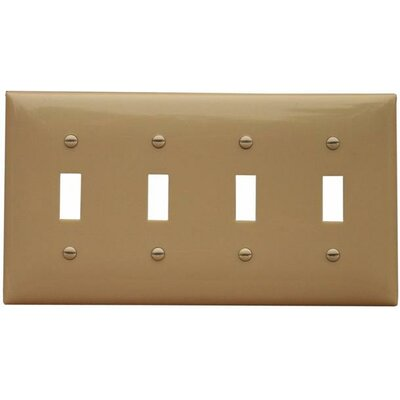 4 Gang Lexan Wall Plates for Toggle Switch in Ivory