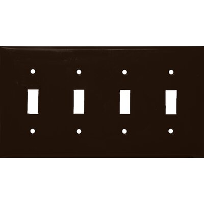 4 Gang Lexan Wall Plates for Toggle Switch in Brown (Set of 3)